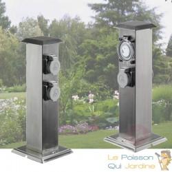 2 Multiprises Inox 4 Prises Électriques Et Minuterie Pour Jardin Et Extérieur
