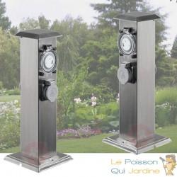2 Multiprises Bornes Inox 2 Prises Électriques Et Minuterie Pour Jardin Et Extérieur