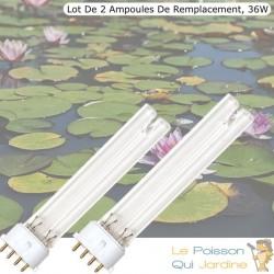 Lot De 2 Ampoules UVC De Rechange, 36W, Pour Aquarium, Bassins De Jardin