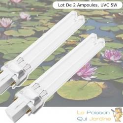 Lot De 2 Ampoules De Remplacement, UVC 5W, Pour Aquarium Et Bassin