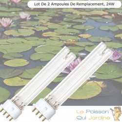 Lot de 2 Ampoules De Remplacement, UVC 24W, Pour Aquarium, Bassin De Jardin