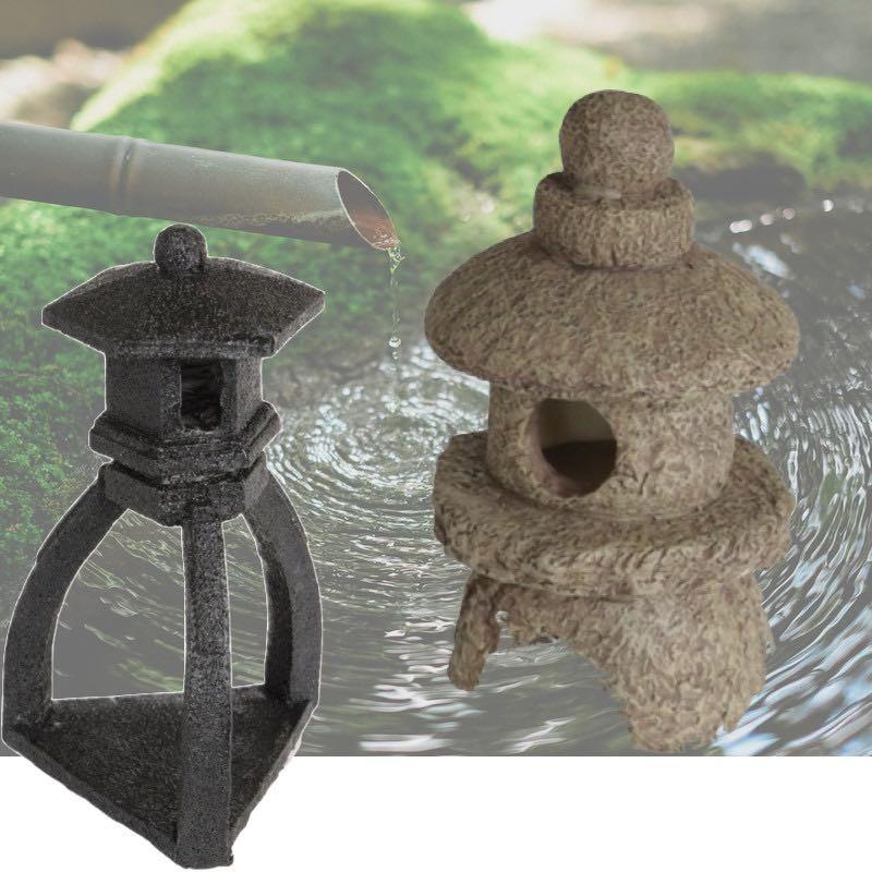 2 Décorations De Bassin De Jardin, Pagode Noire + Pagode