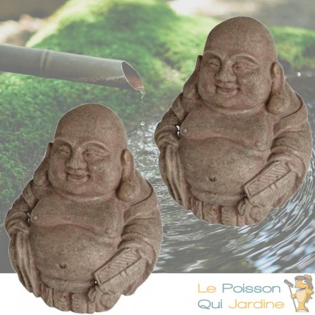Lot De 2 Décorations De Bassin De Jardin, 2 Bouddhas, Zen, En Résine