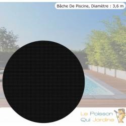 Bâche De Piscine Ronde À Effet Isolant - Noire - Diamètre 3,6 m