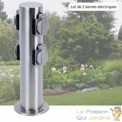 2 Multiprises Bornes Rondes 4 Prises Électriques Pour Jardin Et Extérieur