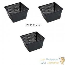 3 Paniers 23 X 23 pour plantes de bassins de jardin et étangs