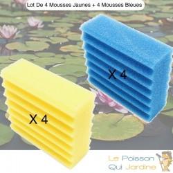 Lot De 4 Mousses Bleues, De Filtration, De Remplacement, Pour Bassins