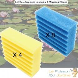 Lot De 8 Mousses Bleues + 4 Mousses Jaunes, De Filtration, De Remplacement,