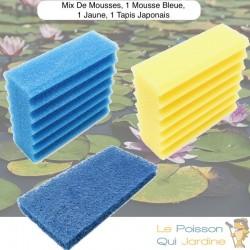 Lot Mousses De Remplacement, 1 Mousse Jaune + 1 Bleue + 1 Tapis Japonais