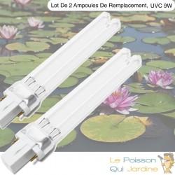Lot 2 Ampoules De remplacement, UVC 9W, Aquarium, Bassin De Jardin