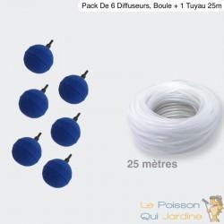 Pack 6 Diffuseurs D'air, Boule 5 cm + 1 Tuyau De 25m, Aération Bassin