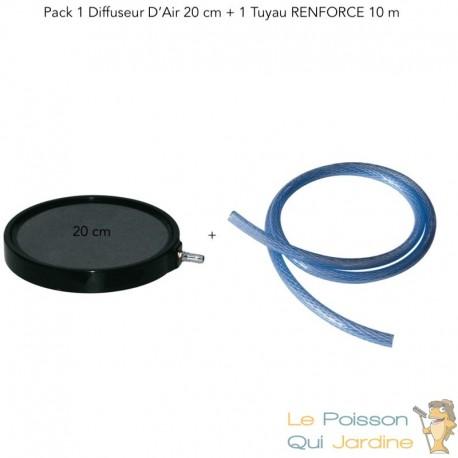 Diffuseur D'Air, Forme De Disque 20 cm Pour Bassins De Jardin + 1 Tuyau RENFORCE De 10 m