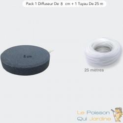Pack 1 Diffuseur D'Air, Forme De Disque 8 cm + 1 Tuyau De 25 m, Bassins