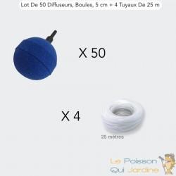 Lot De 50 Diffuseurs D'Air, Boules, 5 cm + 4 Tuyaux De 25 m, Bassins