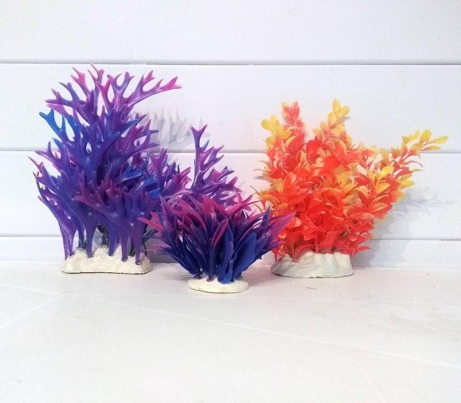 Lot 3 Plantes Plastiques Déco Aquariums: Mauve et orange