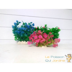 Lot 3 Plantes Plastiques Déco Aquariums: Verte, Rose & Bleue