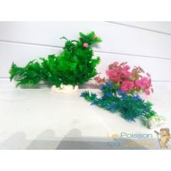 Lot 3 Plantes Plastiques Déco Aquariums: Verte, Rose & Bleue Fine