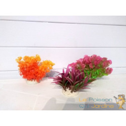 Lot 3 Plantes Plastiques 10 cm Déco Aquariums: Orange, rose et mauve