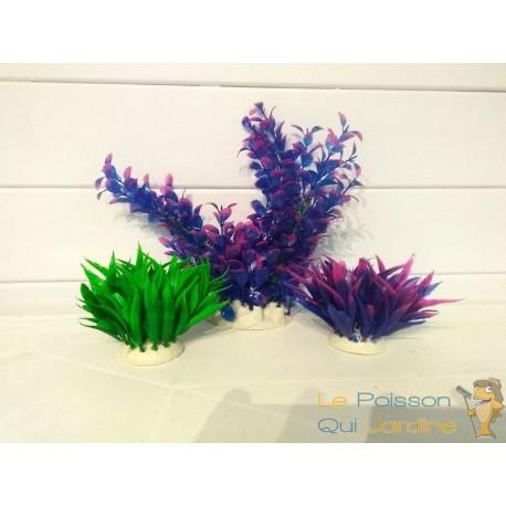 Lot 3 Plantes Plastiques artificielles Déco Aquariums: Verte, et mauve
