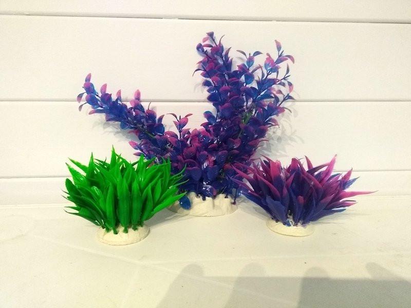 Lot 3 Plantes Plastiques Déco Aquariums: Verte, et mauve