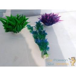 Lot 3 Plantes Plastiques Déco Aquariums: Verte, bleue et mauve