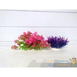 Lot 2 Plantes Plastiques Déco Aquariums: rose et mauve
