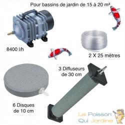 Set aération bassin de jardin 6 disques 10 cm + 3 Diffuseurs 30 cm de 15000 à 20000 litres