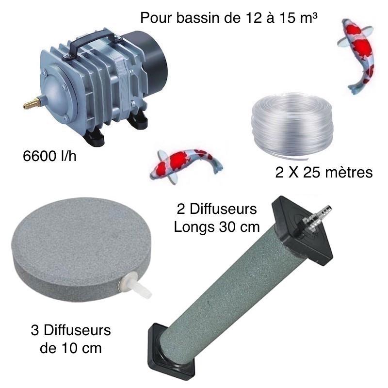 Set aération bassin de jardin 3 Disques 10 cm + 2 diffuseurs 30 cm de 12000 à 15000 l