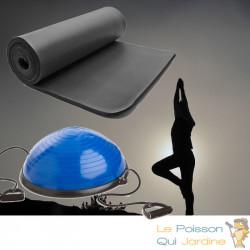 Bosu ou Ballon D'Équilibre Idéal Pour Yoga, Balance & Proprioception et tapis de sol 185 X 80 noir