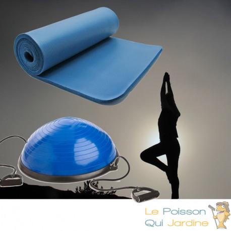 Bosu ou Ballon D'Équilibre Idéal Pour Yoga, Balance & Proprioception et tapis de sol 190 X 100 bleu