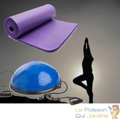 Bosu ou Ballon D'Équilibre Idéal Pour Yoga, Balance & Proprioception et tapis de sol 190 X 100 violet