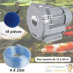 Kit Pompe À Air Vortex Turbine 15000 l/h + 18 Boules Pour Bassins De Jardin