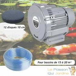 Kit Pompe À Air Vortex Turbine 15000 l/h + 12 disques 10 cm Pour Bassins De Jardin