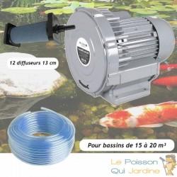 Kit Pompe À Air Vortex Turbine 15000 l/h + 12 diffuseurs 13 cm Pour Bassins De Jardin