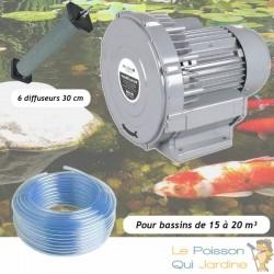 Kit Pompe À Air Vortex Turbine 15000 l/h + 6 diffuseurs 30 cm Pour Bassins De Jardin
