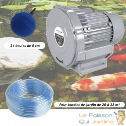 Kit Pompe À Air Vortex Turbine 18000 l/h + 24 Boules Pour Bassins De Jardin