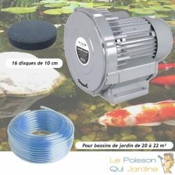 Kit Pompe À Air Vortex Turbine 18000 l/h + 16 Disques 10 cm Pour Bassins De Jardin