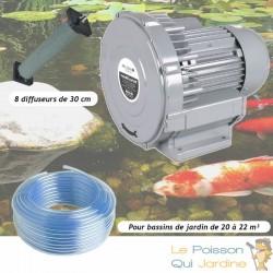 Kit Pompe À Air Vortex Turbine 18000 l/h + 8 Diffuseurs 30 cm De Long Pour Bassins De Jardin