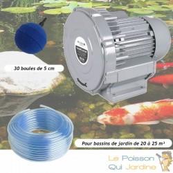 Kit Pompe À Air Vortex Turbine 21000 l/h + 30 Boules Pour Bassins De Jardin