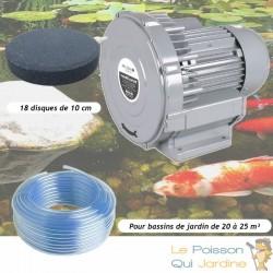 Kit Pompe À Air Vortex Turbine 21000 l/h + 18 Disques 10 cm Pour Bassins De Jardin