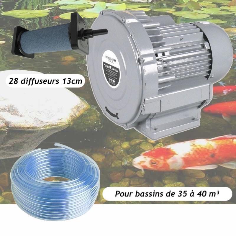 Kit Pompe À Air Vortex Turbine 38400 l/h + 28 Diffuseurs De 13 cm Pour Bassins De Jardin