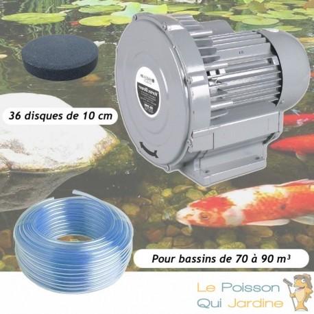 Kit Pompe À Air Vortex Turbine 79200 l/h + 36 Diffuseurs 10 cmPour Bassins De Jardin
