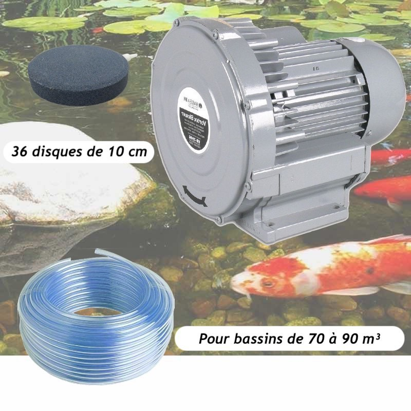 Kit Pompe À Air Vortex Turbine 79200 l/h + 36 Disques 10 cm Pour Bassins De Jardin