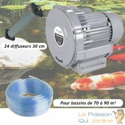 Kit Pompe À Air Vortex Turbine 79200 l/h + 24 Diffuseurs 30 cm Pour Bassins De Jardin