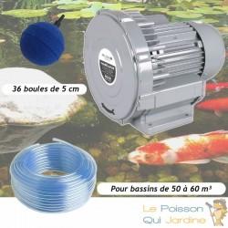 Kit Pompe À Air Vortex Turbine 60000 l/h + 36 Boules Pour Bassins De Jardin