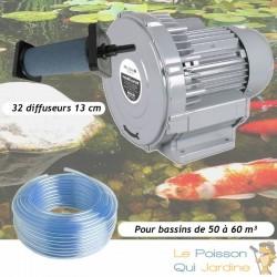 Kit Pompe À Air Vortex Turbine 60000 l/h + 32 Diffuseurs 13 cm Pour Bassins De Jardin