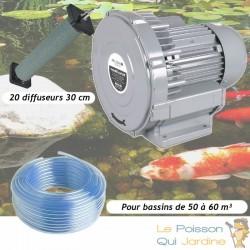Kit Pompe À Air Vortex Turbine 60000 l/h + 20 Diffuseurs 30 cm Pour Bassins De Jardin
