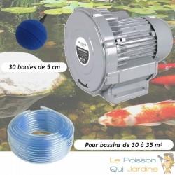 Kit Pompe À Air Vortex Turbine 30000 l/h + 30 Boules Pour Bassins De Jardin