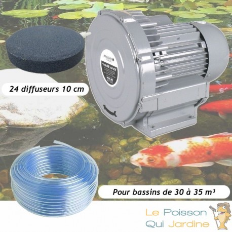 Kit Pompe À Air Vortex Turbine 30000 l/h + 24 Disques 10 cm Pour Bassins De Jardin