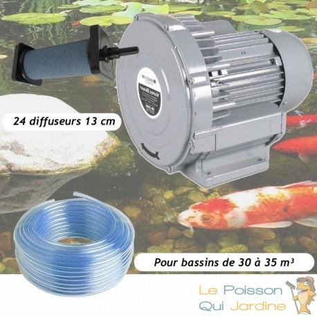 Kit Pompe À Air Vortex Turbine 30000 l/h + 24 diffuseurs 13 cm Pour Bassins De Jardin